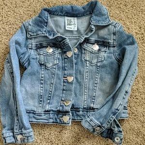 H&M little girls denim jacket with heart buttons